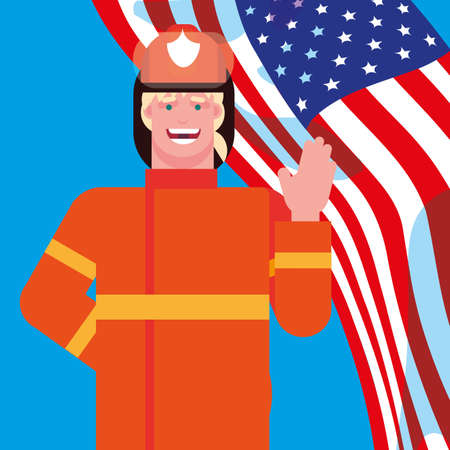 firefighter professional with flag usa vector illustration design
