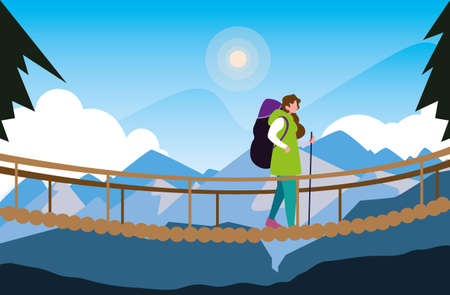 hiking woman crossing bridge mountains landscape vector illustration