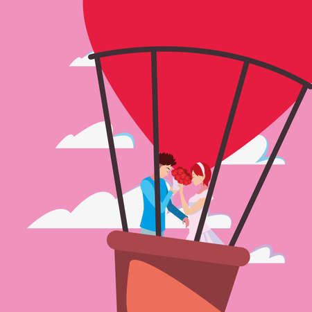 couple romance travel hot air balloon vector illustration