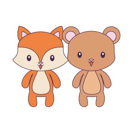 cute bear with fox animals isolated icon vector illustration design Ilustracje wektorowe