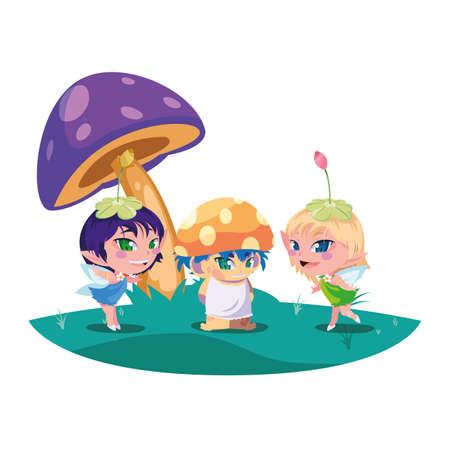 beautiful magic fairies with fungu elf in the garden vector illustration design
