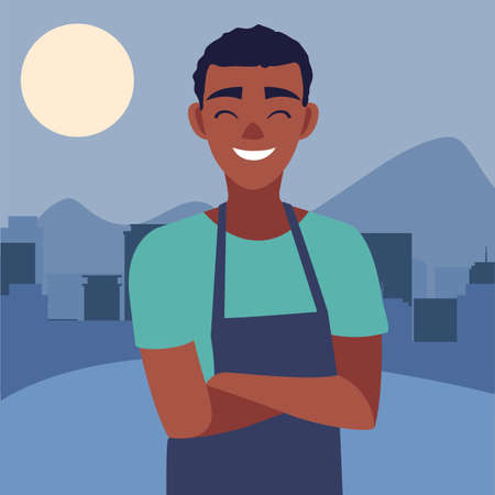 young seller man character with apron outdoors vector illustration