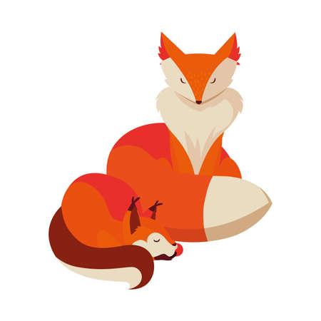 foxes mammal happy autumn season vector illustration