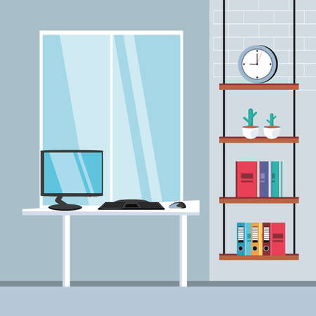 computer desk with supplies office in the workplace vector illustration design