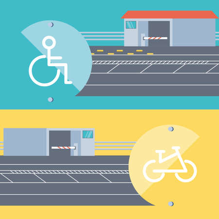 entrance of disable people and bicicles parking zone vector illustration design Vecteurs