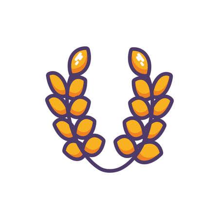 wheat leaves in white background vector illustration design 向量圖像