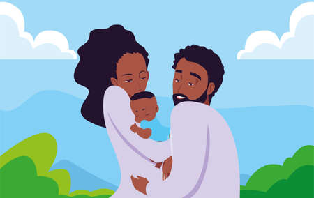 mom and dad carrying her newborn vector illustration