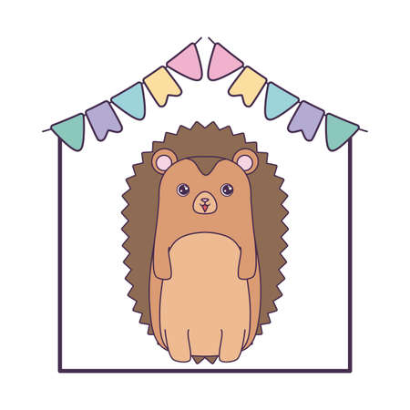 cute porcupine with garlands hanging vector illustration design