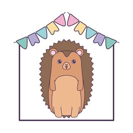 cute porcupine with garlands hanging vector illustration design