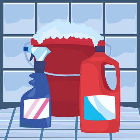 bucket with bottles detergents brush and sponge cleaning products and supplies vector illustration