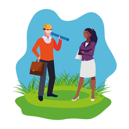 afro female engineer worker with architect on the lawn vector illustration design