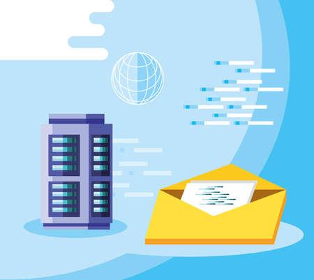 Big data design, Web hosting data center security system and technology theme Vector illustration