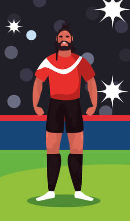 soccer player man standing in stadium vector illustration design