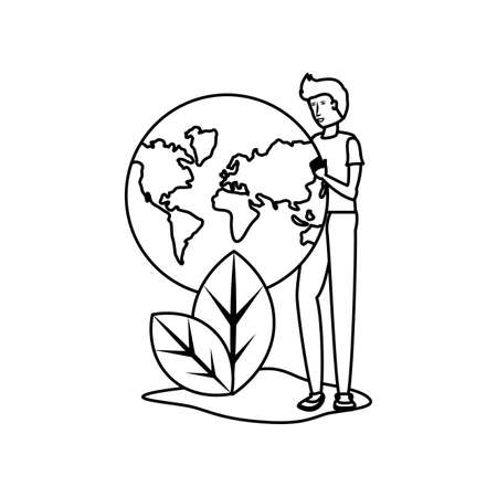 Planet sphere and avatar man design, Continent earth world globe ocean and universe theme Vector illustration