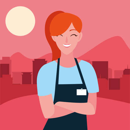 seller woman character with apron outdoors vector illustration