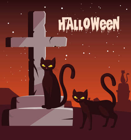 poster of halloween with cats in cemetery vector illustration design