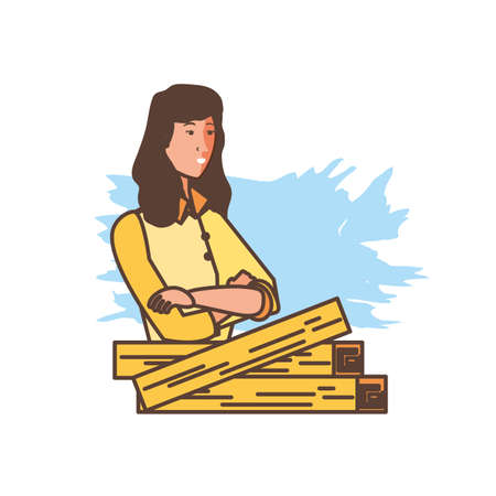 worker carpenter woman with wooden vector illustration design