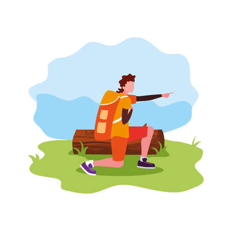 man with backpack trunk wanderlust vector illustration