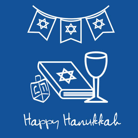 happy hanukkah celebration icons vector illustration design