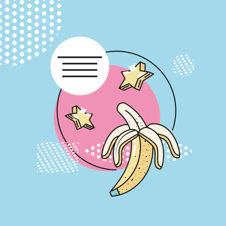 90s style banana fruit design, Vintage retro fashion culture funky and decoration theme Vector illustration
