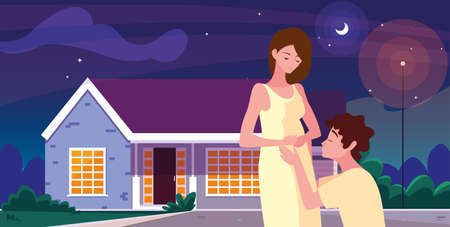 man hugs a pregnant woman front house night - pregnancy and maternity vector illustration