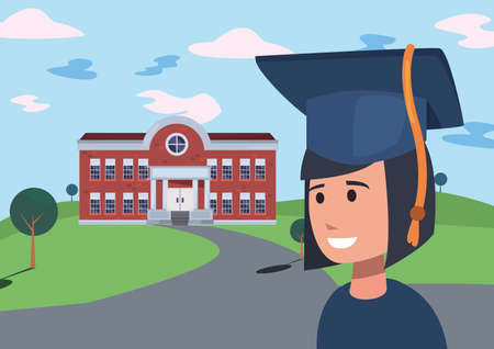 girl with graduation suit in the building school vector illustration Vettoriali