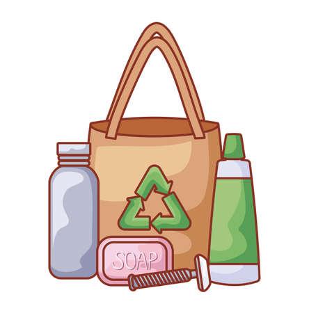 paper bag with set icons ecological vector illustration design
