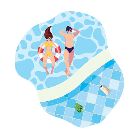 young couple with swimsuit and float in water vector illustration design