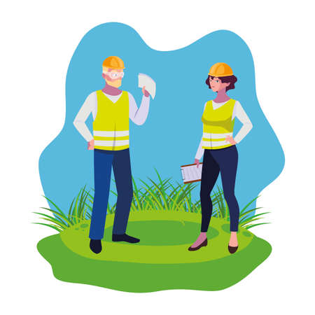 couple of builders constructors workers on the lawn vector illustration design