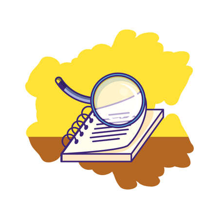 magnifying glass with notebook school supply vector illustration design