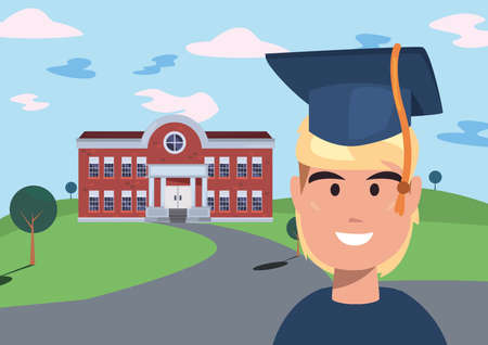 boy with graduation suit front building back to school vector illustration