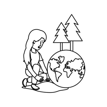 Planet sphere and avatar woman design, Continent earth world globe ocean and universe theme Vector illustration
