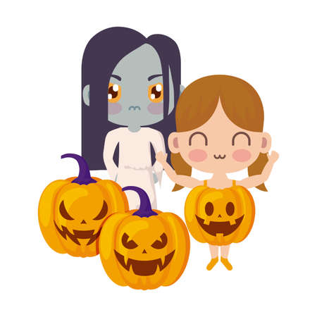 cute children disguised with icons halloween vector illustration design