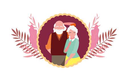 happy grandparents day - couple grandpa and grandma sticker foliage decoration vector illustration