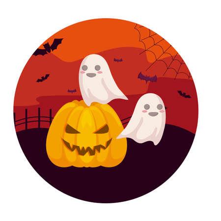 scene of pumpkin with icons halloween vector illustration design 向量圖像