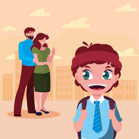 parents with her student son back to school vector illustration Stock Illustratie