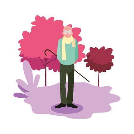 happy grandparents day - grandpa in the landscape vector illustration Stock Illustratie