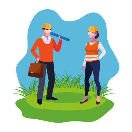 female builder and architect on the lawn vector illustration design