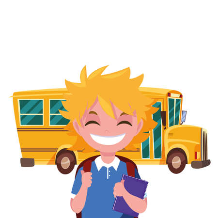 student boy and bus transport back to school vector illustration