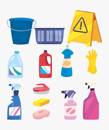 cleaning products and supplies bucket basket brush spray disinfectant shampoo detergent bleach disinfection vector illustration