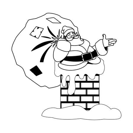 santa claus entering the chimney on white background vector illustration design