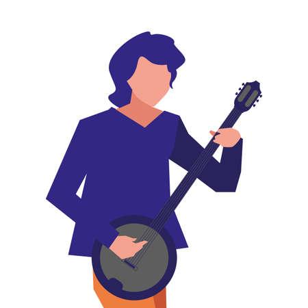musician man banjo playing instrument design vector illustration