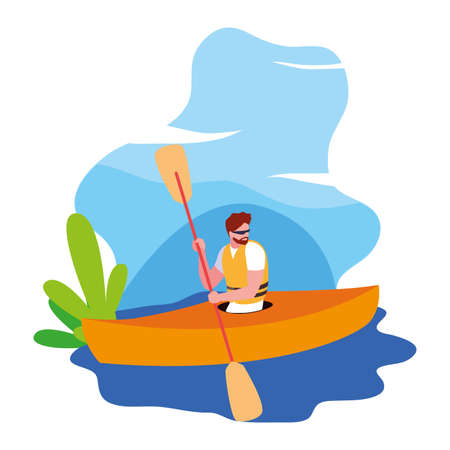 man paddling kayak extreme sport and lifestyle vector illustration