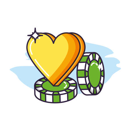 casino games chips with heart vector illustration design