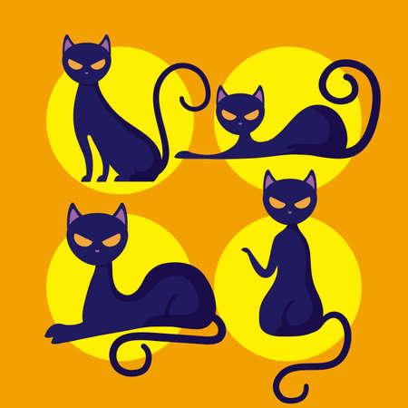 group cats of halloween vector illustration design