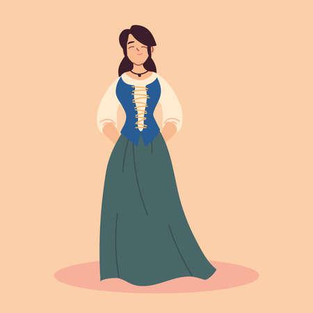 woman medieval peasant character, medieval era vector illustration design