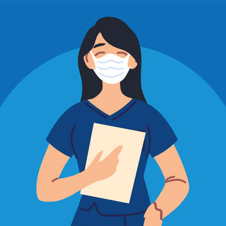 woman nurse using face mask and uniform vector illustration design