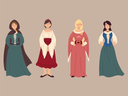 set of medieval peasant women, medieval era vector illustration design