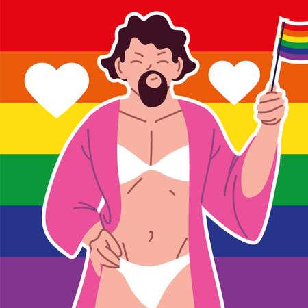 trasgender with beard, gay man, pride parade vector illustration design