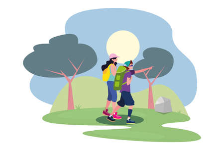 young woman and man with backpack walking wanderlust vector illustration